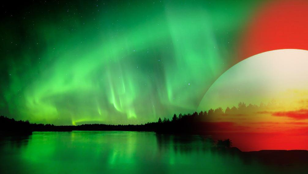 Aurore boreale - Coucher soleil